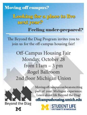 Flier advertising the off-campus housing fair