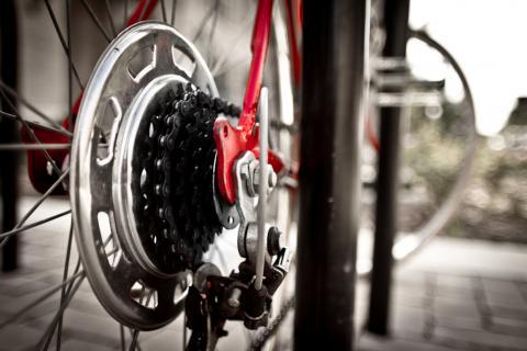 Bike locked up at bike rack.