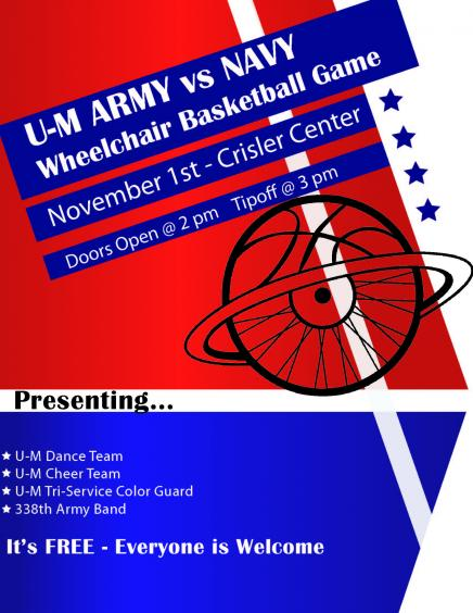 Flyer for UM Army vs Navy basketball game