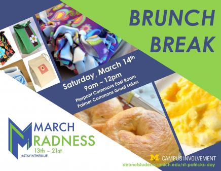 Join CCI for Brunch Break, a morning of engaging service opportunities and delicious food!  On Saturday March 14 from 9am - Noon, we'll be at Pierpont Commons and Palmer Commons with free brunch AND various opportunities for students to engage in an on-site service project.