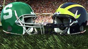 MSU and Umich football helmets